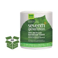 Seventh Generation 100% Recycled Toilet Paper, 2-Ply, White, 3 7/10 x 4, 500 Sheets/Roll, 60 Rolls/Carton SEV137038