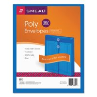 Smead Poly String & Button Envelope, 9 3/4 x 11 5/8 x 1 1/4, Blue, 5/Pack SMD89542