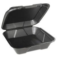 Genpak Foam Hinged Carryout Containers, 1-Compartment, Black, 100/Bag, 2/CT GNPSN200VW3L