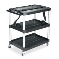 Rubbermaid Commercial MediaMaster Three-Shelf AV Cart, 18-5/8w x 32-1/2d x 32-1/8h, Black RCP9T28