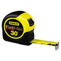 "Stanley Tools Fat Max Tape Rule, 1 1/4"" x 30ft, Plastic Case, Black/Yellow, 1/16"" Graduation SQN33730"