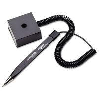 MMF Industries Wedgy Secure Ballpoint Stick Coil Pen with Square Base, Black Ink, Fine MMF25828504