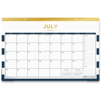 "Blue Sky Day Designer Academic Year Desk Pad, 17"" x 11"", Navy Stripes, 2018-2019 BLS107935"