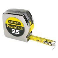 "Stanley Powerlock II Power Return Rule, 1"" x 25ft, Chrome/Yellow BOS33425"