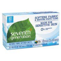 Seventh Generation Natural Fabric Softener Sheets, Free & Clear, 80/Box, 12 Box/Carton SEV22787