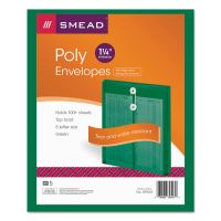 Smead Poly String & Button Envelope, 9 3/4 x 11 5/8 x 1 1/4, Green, 5/Pack SMD89543