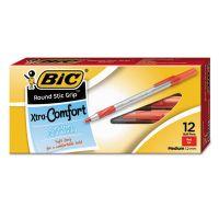 BIC Round Stic Grip Xtra Comfort Ballpoint Pen, Red Ink, 1.2mm, Medium, Dozen BICGSMG11RD