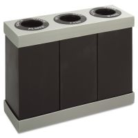 Safco At-Your-Disposal Recycling Center, Polyethylene, Three 84gal Bins, Black SAF9798BL