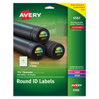 "Avery Round Print-to-the-Edge Permanent Labels, 1 2/3"" dia, Glossy Clear, 500/Pack AVE6582"