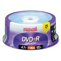 Maxell DVD+R Discs, 4.7GB, 16x, Spindle, Silver, 25/Pack MAX639011