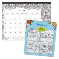 Blueline DoodlePlan Desk Pad Calendar w/Coloring Pages, 22 x 17, 2019 REDC2917311