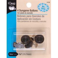 "No-Sew Dungaree Buttons 5/8"" 4/Pkg NOTM092550"
