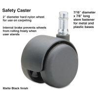 Master Caster Safety Casters, Standard Neck, Nylon, B Stem, 110 lbs./Caster, 5/Set MAS64234