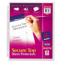 Avery Secure Top Sheet Protectors, Letter, Super Heavy Gauge, Diamond Clear, 25/Pack AVE76000