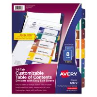 Avery Ready Index Customizable Table of Content Dividers, 8-Tab, Multi-color Tab, Letter, 6 Sets AVE12172
