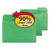 Smead SuperTab Colored File Folders, 1/3 Cut, Letter, Green, 100/Box SMD11985