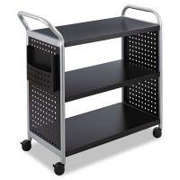 Safco Scoot Three-Shelf Utility Cart, 31w x 18d x 38h, Black/Silver SAF5339BL