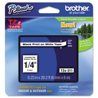"""Brother P-Touch TZe Standard Adhesive Laminated Labeling Tape, 1/4""""w, Black on White BRTTZE211"""