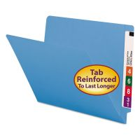 Smead Colored File Folders, Straight Cut, Reinforced End Tab, Letter, Blue, 100/Box SMD25010