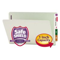 Smead One Inch Expansion Folder, Two Fasteners, End Tab, Legal, Gray Green, 25/Box SMD37705