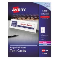 Avery Large Embossed Tent Card, White, 3 1/2 x 11, 1 Card/Sheet, 50/Box AVE5309