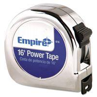 "Empire Power Tape Measure, 3/4"" x 16ft, Metal Case, Chrome, 1/16"" Graduation EML616"