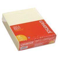 Universal Glue Top Writing Pads, Narrow Rule, Ltr, Canary, 50 Sheet Pads/Pack, Dozen UNV42000