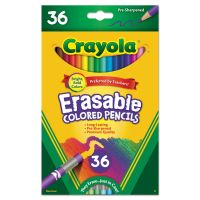 Crayola Erasable Colored Woodcase Pencils, 3.3 mm, 36 Assorted Colors/Set CYO681036