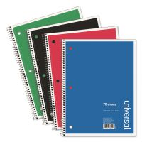 Universal 1 Sub. Wirebound Notebook, 10 1/2 x 8, Wide Rule, 70 Sht, Assorted Covers, 4/PK UNV66624