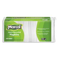 Marcal 100% Recycled Lunch Napkins, 1-Ply, 12 1/2 x 11 2/5, White, 400/Pack MRC6506PK