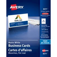 Avery Printable Microperf Business Cards, Inkjet, 2 x 3 1/2, White, Matte, 250/Pack AVE8371