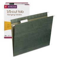 Smead Hanging Folders, 1/5 Tab, 11 Point Stock, Letter, Green, 25/Box SMD64055