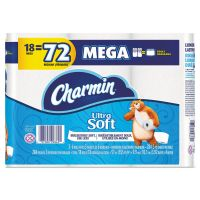 Charmin Ultra Soft Toilet Paper, 2-Ply, White, 4 x 3.92 Sheet, 284 Sheets/Roll, 18 Rolls/Pack PGC99862