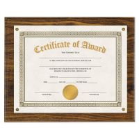 "Universal Award Plaque, 13 1/3"" x 11"", Walnut UNV76826"
