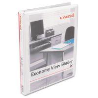 """Universal Economy 3-Ring View Binder, 1/2"""" Capacity, Round Ring, White UNV20952"""