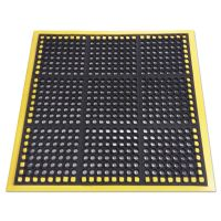 Crown Safewalk Workstations Anti-Fatigue Drainage Mat, 40 x 40, Black/Yellow CWNWS4E40YE