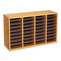 Safco Wood/Laminate Literature Sorter, 36 Sections, 39 1/4 x 11 3/4 x 24, Medium Oak SAF9424MO