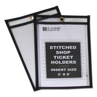 C-Line Shop Ticket Holders, Stitched, Both Sides Clear, 25 Sheets, 5 x 8, 25/BX CLI46058