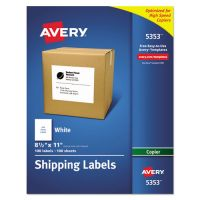Avery Copier Full-Sheet Labels, 8 1/2 x 11, White, 100/Box AVE5353