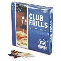"Royal Club Cellophane-Frill Wood Picks, 4"", Assorted, 10000/Carton RPPR812W"