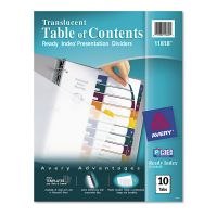 Avery Ready Index Customizable Table of Contents Plastic Dividers, 10-Tab, Letter AVE11818