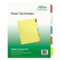 Office Essentials Plastic Insertable Dividers, 5-Tab, Multi-color Tab, Letter, 1 Set AVE11465