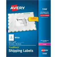 Avery Shipping Labels with TrueBlock Technology, Laser, 3 1/2 x 5, White, 400/Box AVE5168