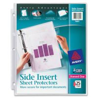 Avery Secure Side-Load Sheet Protectors, Letter, Heavy Gauge, Diamond Clear, 25/Pack AVE76001