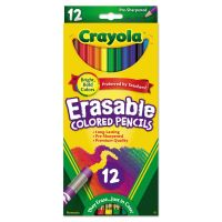 Crayola Erasable Colored Woodcase Pencils, 3.3 mm, 12 Assorted Colors/Box CYO684412