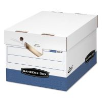 Bankers Box PRESTO Maximum Strength Storage Box, Ltr/Lgl, 12 x 15 x 10, White, 12/Carton FEL0063601