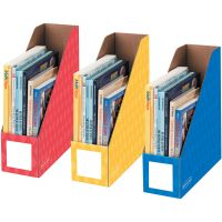 "Fellowes Bankers Box 4"" Magazine File Holders - Yellow, Blue, Red - 3 / Pack FEL3381701"