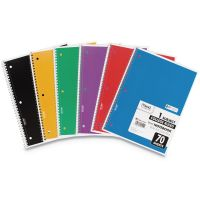 """Mead Spiral Notebook, College Rule, 10 1/2"""" x 8"""", 70 Pages, 6 Books/Pack MEA73065"""