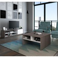 Bestar Small Space 2-Piece Storage Coffee Table and TV Stand Set in Bark Gray and White BESBES1685147