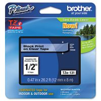 """Brother P-Touch TZe Standard Adhesive Laminated Labeling Tape, 1/2""""w, Black on Clear BRTTZE131"""